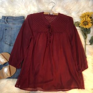 Lucky Brand Romantic Red Sheer Blouse